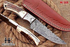 HUNTEX Custom Handmade Damascus Steel 230 mm Long Deer Antler Hunting Camp Knife