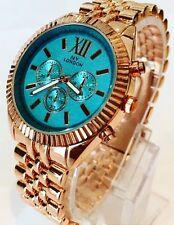 Reloj De Señoras De Oro Rosa De Lujo Metal Correa Turquesa Clásico Elegante Diseñador Nuevo