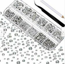 2000 Pcs Flat Back Gems Round Crystal Rhinestones W/ Pick Up Tweezer Nib