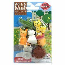 Toy IWAKO Japanese  Safari Eraser 6 pcs Set s6151  Free shipping