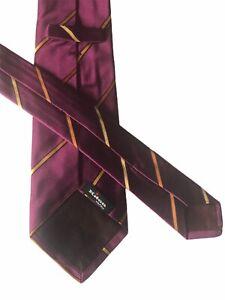 "Kiton Men's Luxury Maroon/Gold 100% Silk Single Stripe NeckTie - 60""L X 3.75""W"