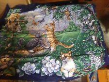 Vintage Quilt Cat Fabric Panel Springs Industries Cats Butterflies Birds 36 x 44