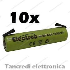 10x 1,2 v 1000 mAh ministilo AAA terminali lamelle a saldare uso generico 900mAh