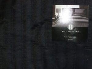 NIP HOTEL COLLECTION EVENING QUILTED KING SIZE PILLOW SHAM BLACK