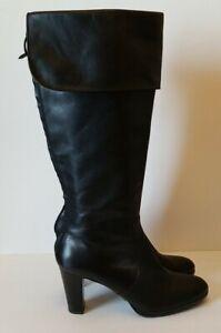 Ralph Lauren Boots Black Leather Knee Heel High Flap Top Size 11 Rubber Soles