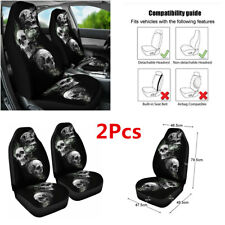 2Pcs Car Front Seat Cover 3D Skull Printing Polyester Fiber Protector Cushion