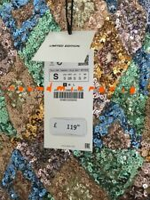 NWT Zara AW19 Limited Edition Sequin Long Dress Bloggers Fav RRP £ 119 Size S