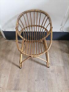 Ancien fauteuil chaise siège enfant vintage années 60 en osier rotin bambou