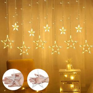 LED Rideau Lumière Noël Guirlande Lumineuse 12 Étoiles avec 8 Modes Clignotant