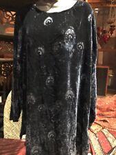Liberty Of London Vintage Navy Blue Silk Velvet Peacock Feather Shirt Tunic