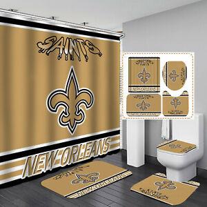 New Orleans Saints Bathroom Rugs Shower Curtain Toilet Lid Cover Bath Mat 4PCS