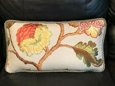 New, Kravet Couture Floral Embroidered Linen Lumbar Pillow with Twisted Cord.