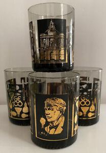 4 Vtg. Barware black General Electric 100th Anniversary 1878-1978 rocks glasses