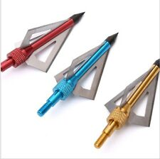 12pcs Broadheads for Crossbow and Compound 3 Blade Hunting arrow 100Grain a