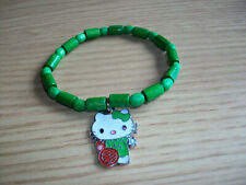 CUTE HELLO KITTY ELASTICATED BRACELET - GREEN - IDEAL GIFT