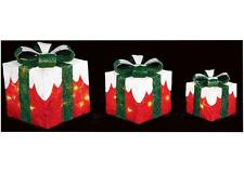 3 Red & Green Christmas Parcels LED Illuminated Lit Xmas In/outdoor Decoration