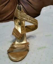 Gold strappy heel sz.6.5 M Nine West shoe Elegant Event New Left Shoe Amputee