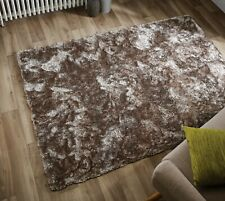 SILKY SOFT THICK PILE NATURAL SHAGGY MAT CRUSHED VELVET EFFECT LARGE RUG CARPET