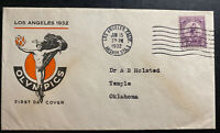 1932 Los Angeles CA USA First Day Cover FDC To Temple Olympic Games C