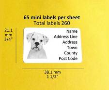 Boxer White 260 Personalised Dog Mini Address Labels Stickers