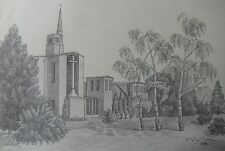 "R.N. WILLIAMS AUSTRALIAN PENCIL DRAWING OF ""MODERN CHURCH AND GROUNDS"" 1978"