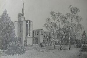 """R.N. WILLIAMS AUSTRALIAN PENCIL DRAWING OF """"MODERN CHURCH AND GROUNDS"""" 1978 A"""