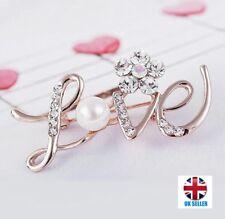 UK LOVE Letters Design Elegant Crystal Pearl Flower Rose Gold Wedding Pin Brooch