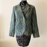 Coldwater Creek Medium Tweed Blazer Wool Blend Blue Green Boucle Jacket Career