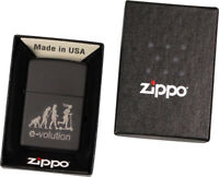 "ZIPPO schwarz Media chrom gelasert ""e-volution"" Feuerzeug E-Roller"