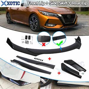 Car Front Rear Bumper Lip Spoiler Splitter + Side Skirt Extension Kit For Nissan