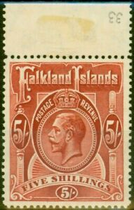 Falkland Islands 1912 5s Dp Rose-Red SG67 Fine MNH
