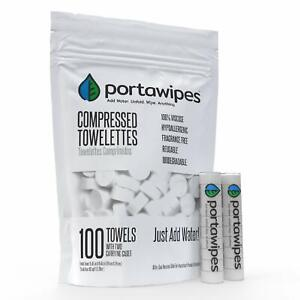 Portawipes Compressed Toilet Paper Tablet Coin Tissues - 100 Pack with 2 Carr...