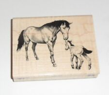 """Horse & Colt Rubber STAMP Wood Mounted NEW 4"""""""
