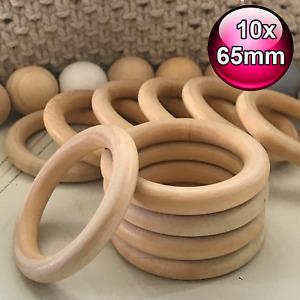 10 x 65mm Extra large raw natural wood rings round pram craft ring
