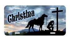 Personalized Monogrammed License Plate Auto Car Tag Cowgirl Cross Horse Horses