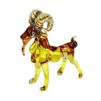 TINY CRYSTAL GOAT HAND BLOWN CLEAR GLASS ART GOAT FIGURINE ANIMAL COLLECTION
