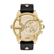 Diesel Mens Daddies Chronograph Watch Gold Dial Black Strap DZ7363