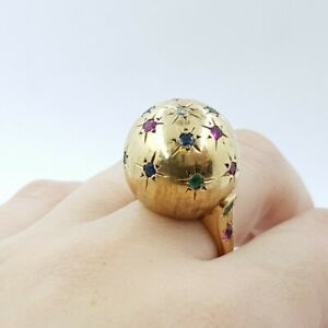 14ct Gold Ruby Emerald Sapphire & Diamond Dome Cocktail Ring Val $4020 #53850