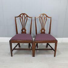 Pair Of Georgian Antique Oak Drop-In Seat Chairs (231)