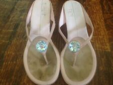 "Pale PINK Leather HUGE RHINESTONE 2-1/2"" Heel FLIP FLOP Sexy SANDALS * sz 8"
