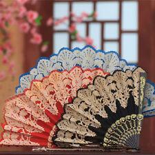 Spanish Style Dance Party Wedding Lace Silk Folding Hand Held Flower Fan LT