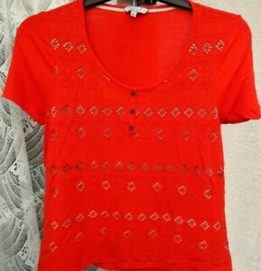 ( Ref 6343 ) Marks & Spencer - Size 14 - Ladies Red & White Short Sleeve Top