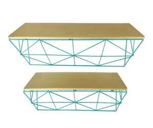 2 x Teal & Copper Geometric Wire Shelve