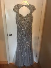 Silver Beaded Jovani Prom Or Pageant Dress Size 10