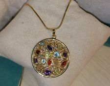 Ross Simons Yellow Gold/Sterling silver Orange-Swiss blue topaz-Pendant necklace