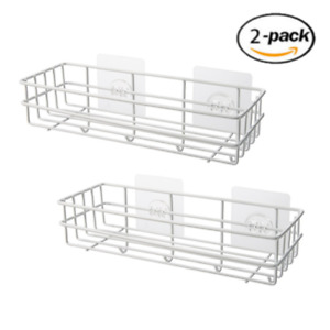 Stainless Steel Caddy for Bathroom Shower Kitchen with Hooks no need Drill 2 pcs