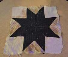 """Antique Fabric Star Quilt Block Black Calico Primitive Grungy 11""""x11"""""""