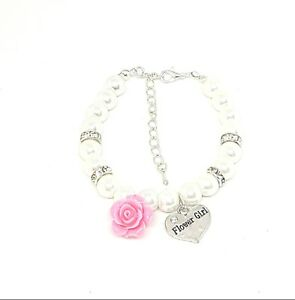 Personalized Wedding Pearl Bracelet Bridesmaid, Flower Girl Thank you Present