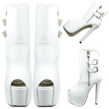 Women's Peep Toe Platform Stiletto Faux Leather Buckles Mid Calf Boots White