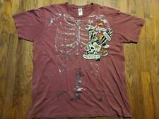 Ed Hardy Skeleton T-shirt Size 2XL 2-sided